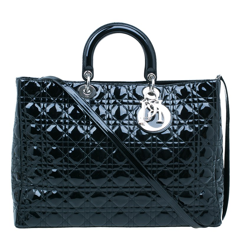 Buy Dior Black Patent Leather Extra Large Lady Dior Tote Bag 45337 ... 3c887b8de4320