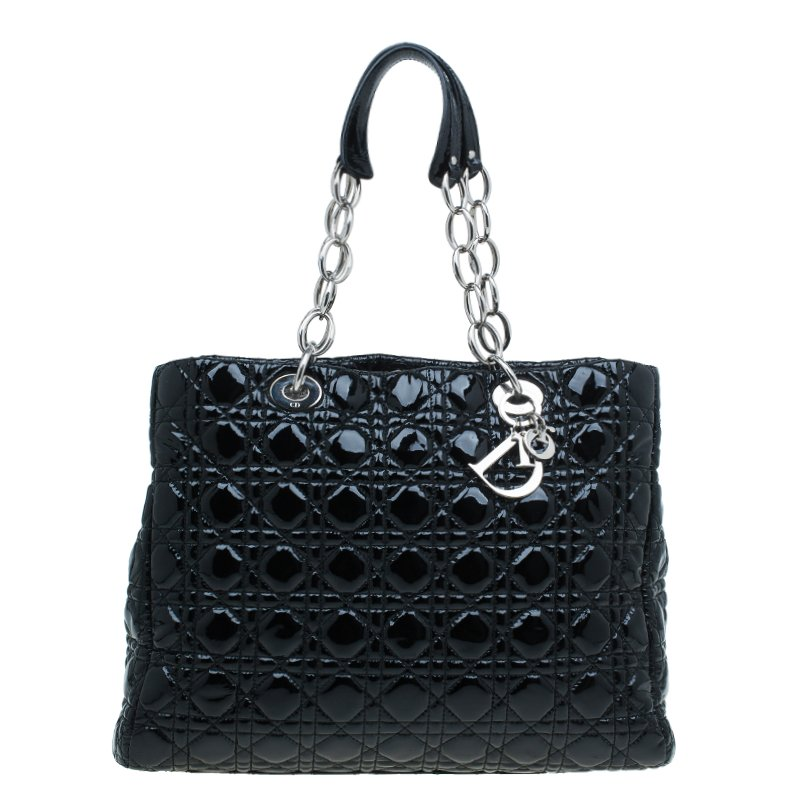 Dior Black Cannage Quilted Patent Leather Large Shopping Tote
