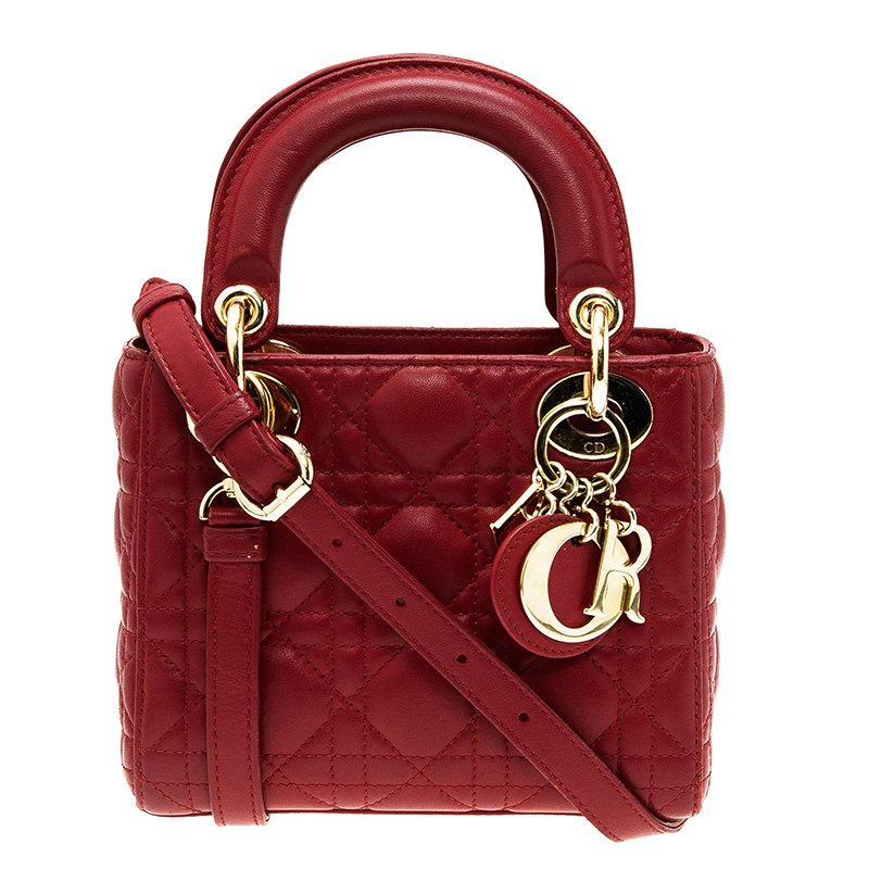 19724e414b4 Buy Dior Red Leather Mini Lady Dior Tote 49493 at best price | TLC