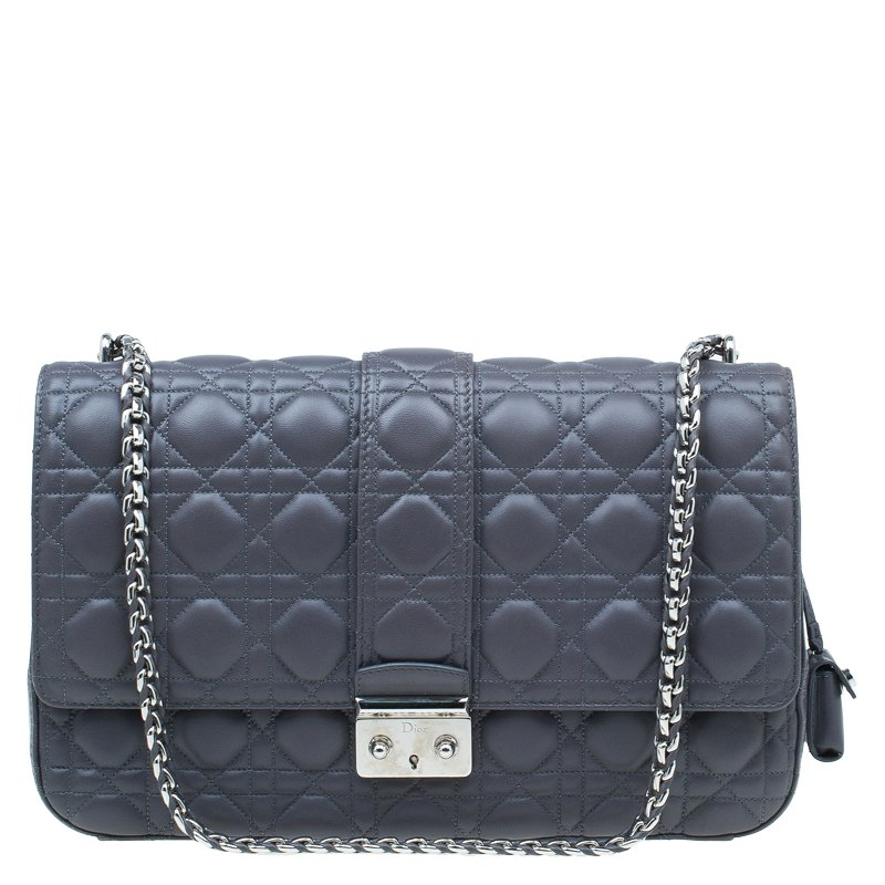 Dior Grey Quilted Leather Large Miss Dior Flap Bag