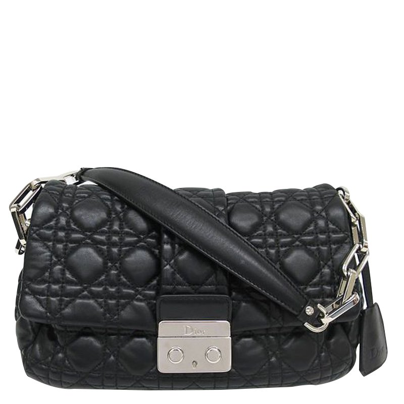 94cdb39f81c2f Buy Dior Black Cannage Quilted Lambskin New Lock Flap Shoulder Bag ...