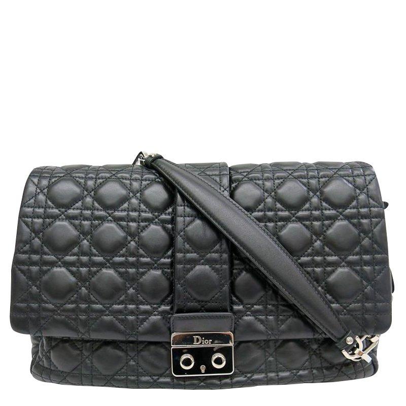 057ff0efec Buy Dior Black Cannage Quilted Lambskin Large New Lock Flap Shoulder ...
