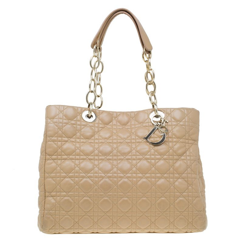 116d187c333a ... Dior Beige Cannage Quilted Soft Leather Large Shopping Tote. nextprev.  prevnext
