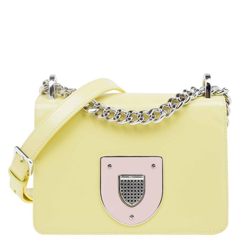 09cfb5f76b81 Buy Dior Lemon Yellow Calfskin Leather Mini Diorama Flap Bag 62343 ...