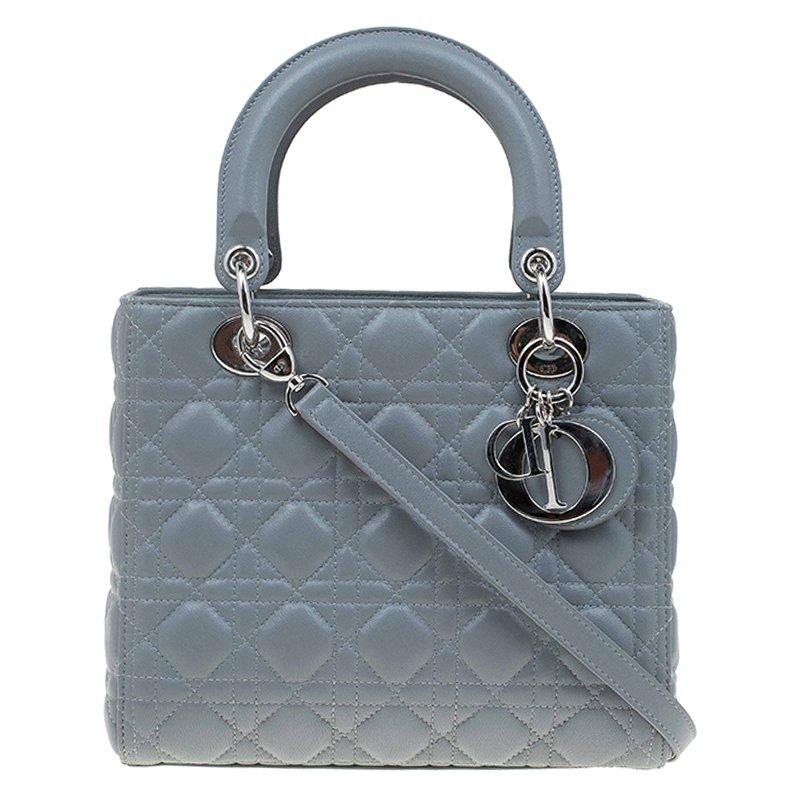 Dior Grey Leather Medium Lady Dior Tote