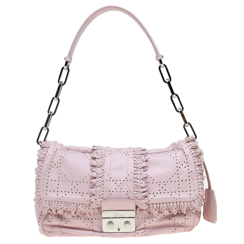 f1efe9e9c3 Buy Dior Pink Perforated Leather Ruffle New Lock Flap Bag 67852 at ...