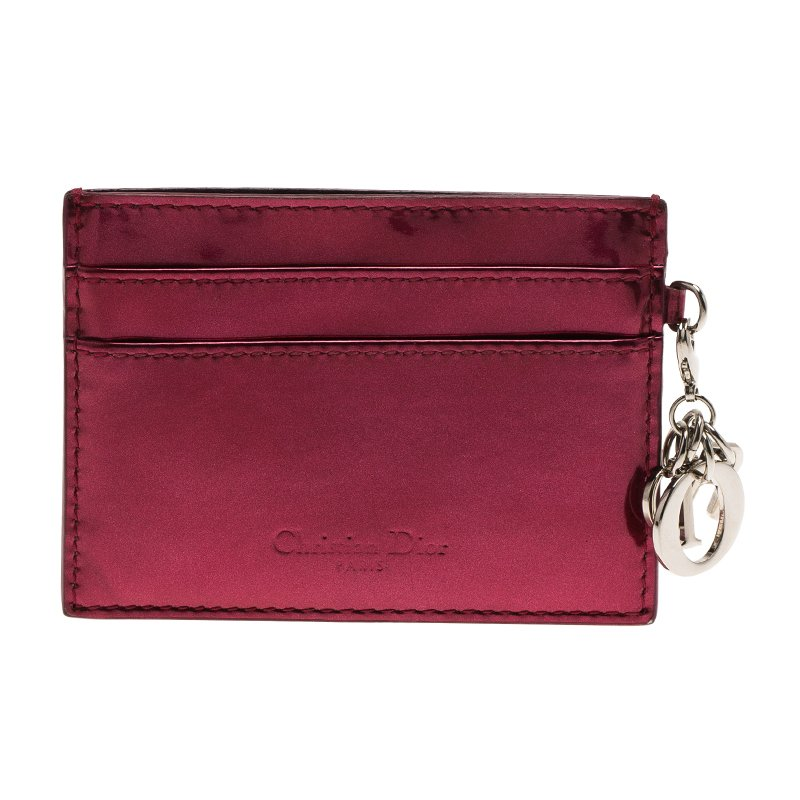 Dior Red Metallic Cannage Leather Lady Dior Card Holder