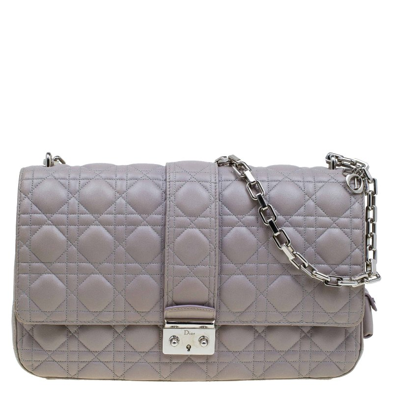 2ea68f1fd32ea Buy Dior Grey Cannage Leather Large Miss Dior Flap Bag 78039 at best ...