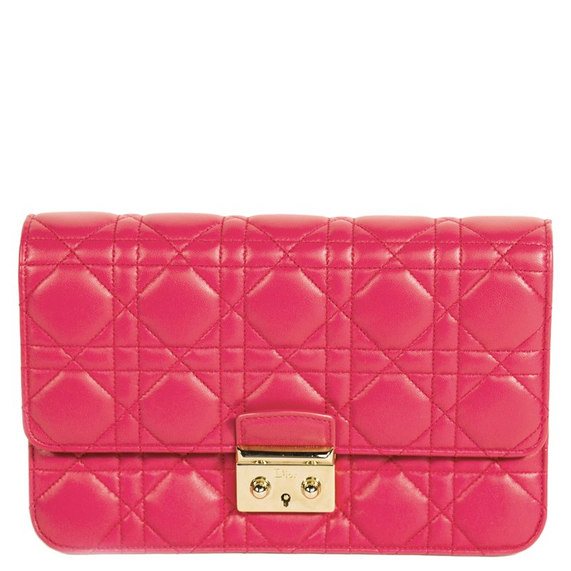 dfd61e3b81 Buy Dior Pink Cannage Quilted Lambskin Miss Dior Promenade Pouch ...