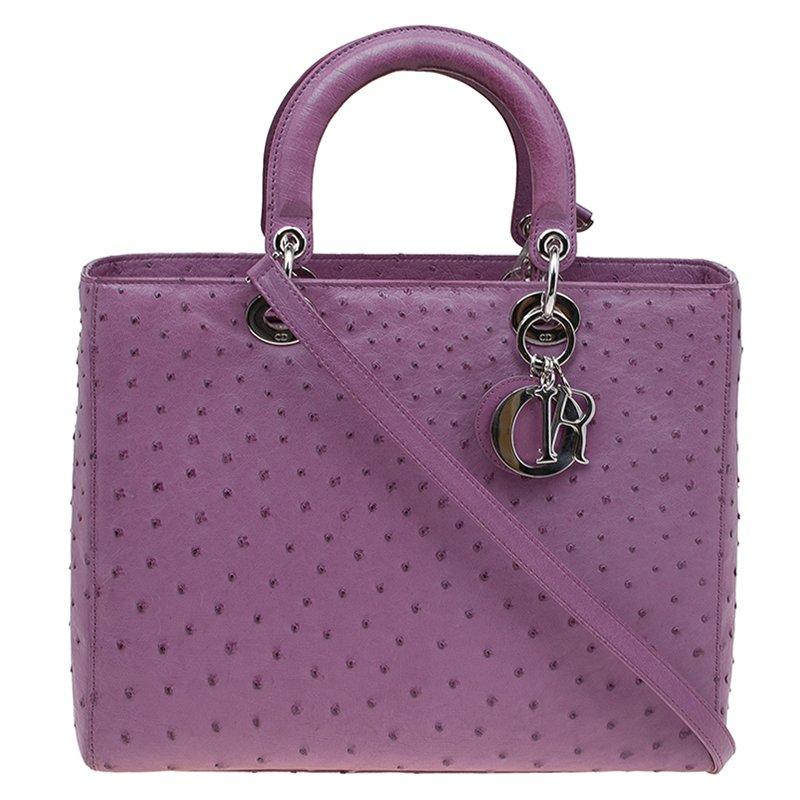7a4576ba272 ... Dior Purple Ostrich Skin Large Lady Dior Tote. nextprev. prevnext