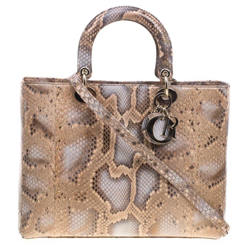f137f3137f2ca إشتري حقيبة ديور ليدي ديور جلد ثعبان بيج كبيرة 92955 بأفضل الاسعار ...