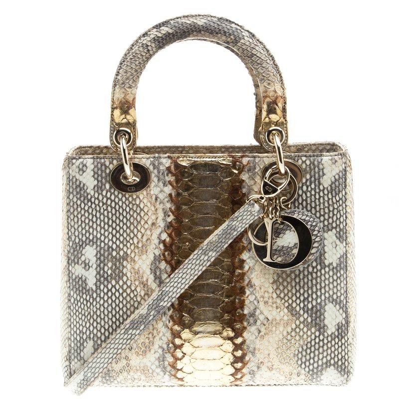 Buy Dior Beige Gold Python Medium Lady Dior Tote 94196 at best price ... 4af30d8031677