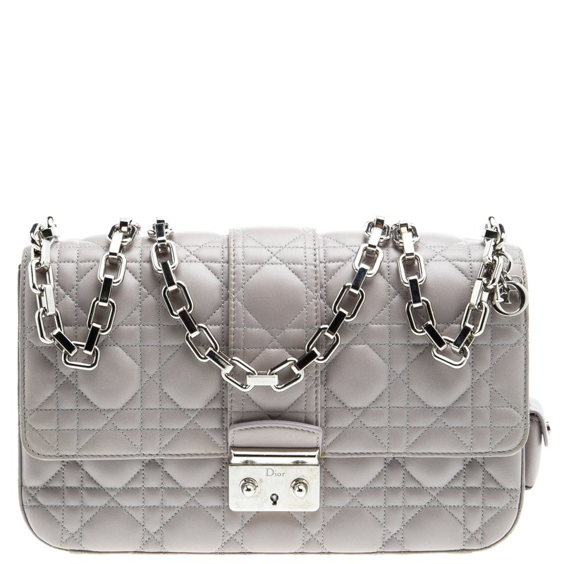 d467d43a922633 Buy Dior Grey Cannage Leather Medium Miss Dior Flap Bag 96426 at ...