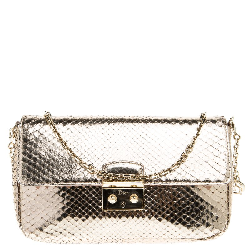 309e777a0da Buy Dior Metallic Gold Python Miss Dior Promenade Pouch 98962 at ...