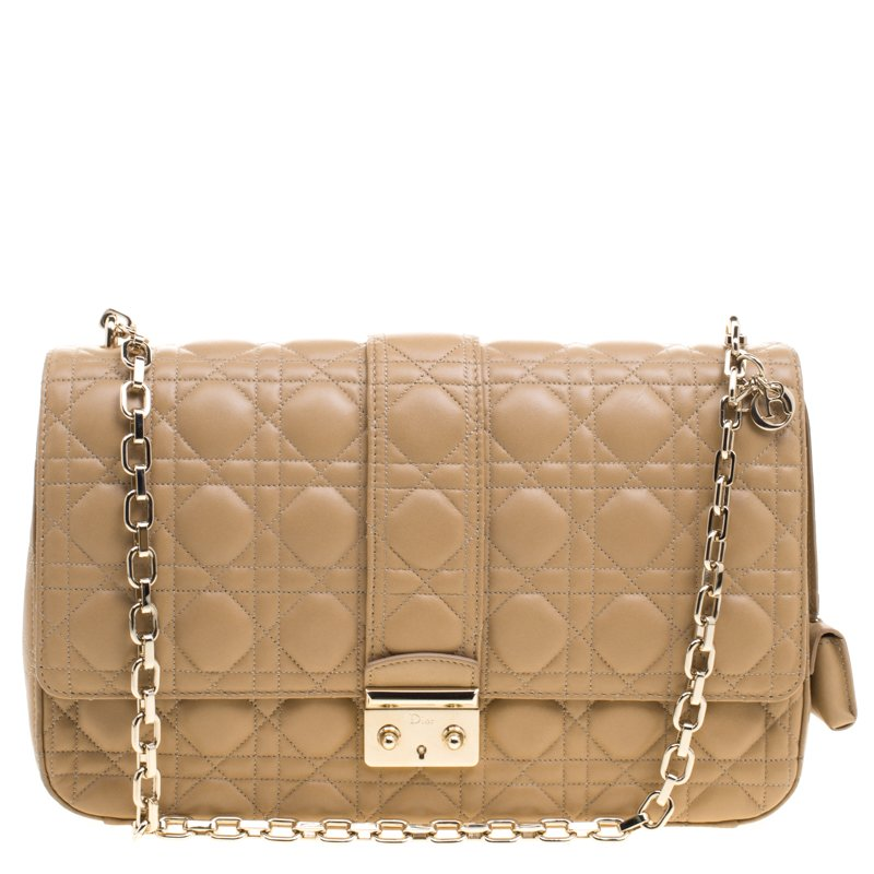 Buy Dior Caramel Cannage Leather Large Miss Dior Flap Bag 99592 at ... df26a30599600