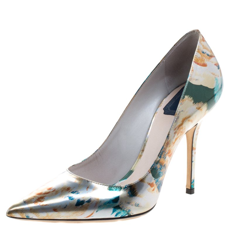 3fa61800da0 ... Dior Floral Printed Metallic Leather Cherie Pointed Toe Pumps Size 38.  nextprev. prevnext