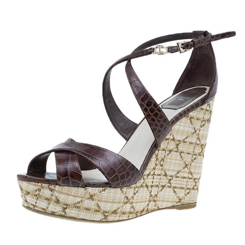 e37c1824f42e Buy Dior Brown Croc Embossed Leather Criss Cross Wedges Size 40 ...