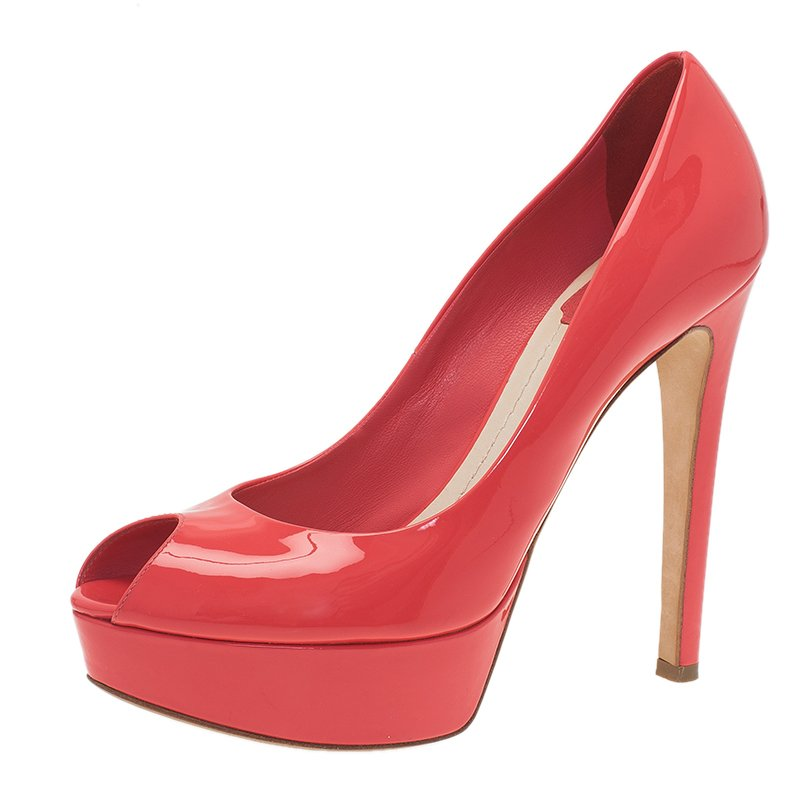 2a3a7ac9cd09 ... Dior Pink Patent Peep Toe Platform Pumps Size 38. nextprev. prevnext