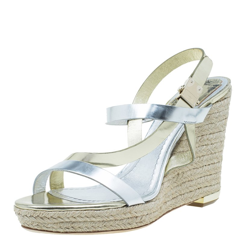 8ca26962bee Dior Silver and Gold Leather Ankle Strap Espadrille Wedge Sandals Size 39.5