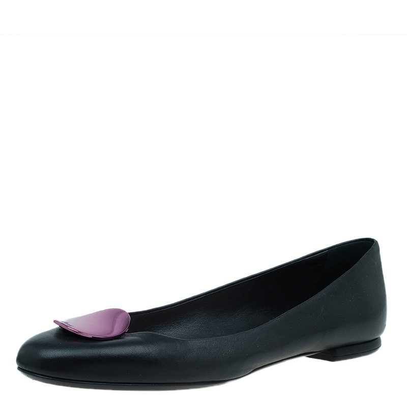 Dior Black Leather Trim Embellished Ballet Flats Size 40