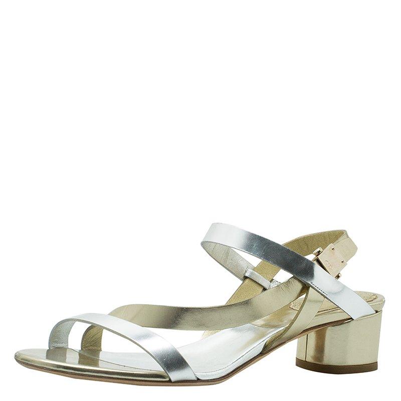 5cb396015f2 ... Silver Metallic Leather Block Heel Sandals Size 37.5. nextprev. prevnext