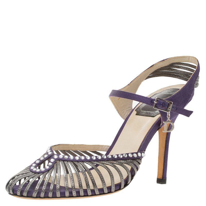 9fd3c112dcc Buy Dior Purple Crystal Embellished Satin Strappy Sandals Size 37 ...