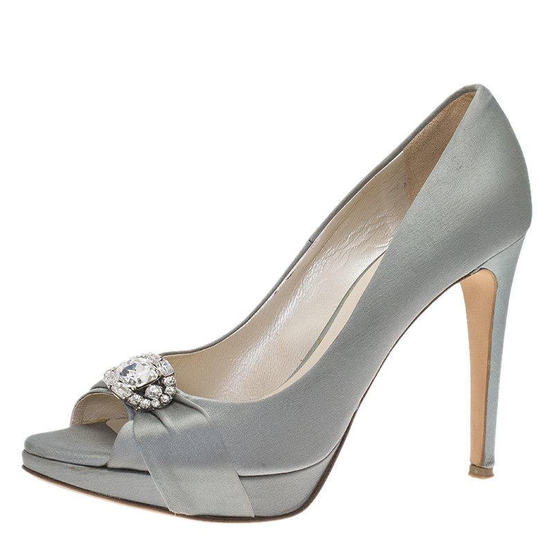 Dior Grey Embellished Satin Peep Toe Platform Pumps Size 38.5