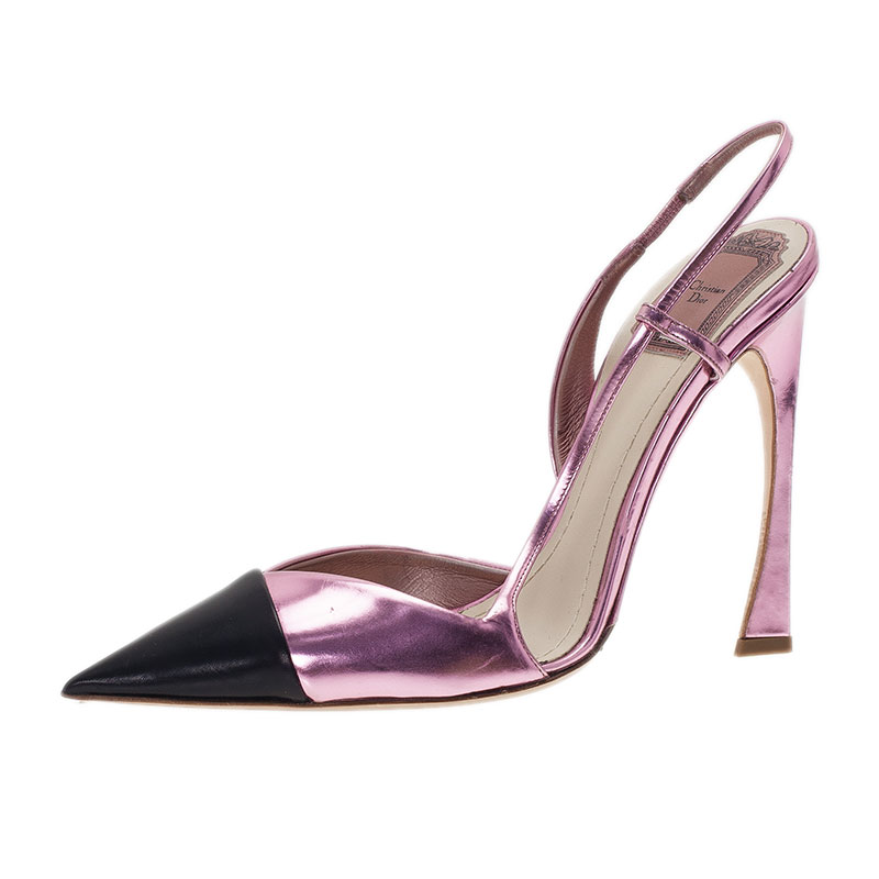 Dior Black and Pink Metallic Leather Defile Slingback Sandals Size 40