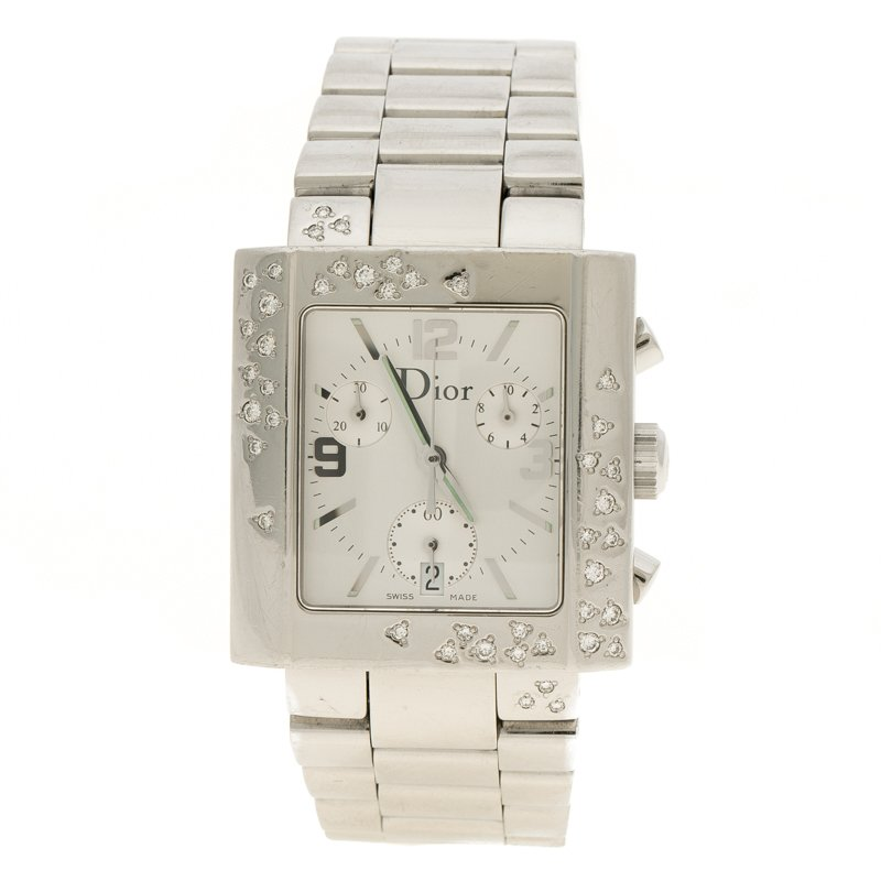 be13e334d إشتري ساعة يد نسائية كريستيان ديور ريفا ستانلس ستيل فضية بيضاء 31 مم ...