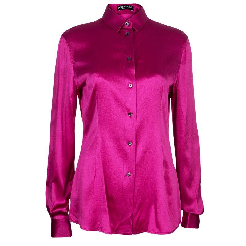 baebcb0d251 Buy Dolce And Gabbana Fuschia Silk Satin Shirt M 53452 at best price ...