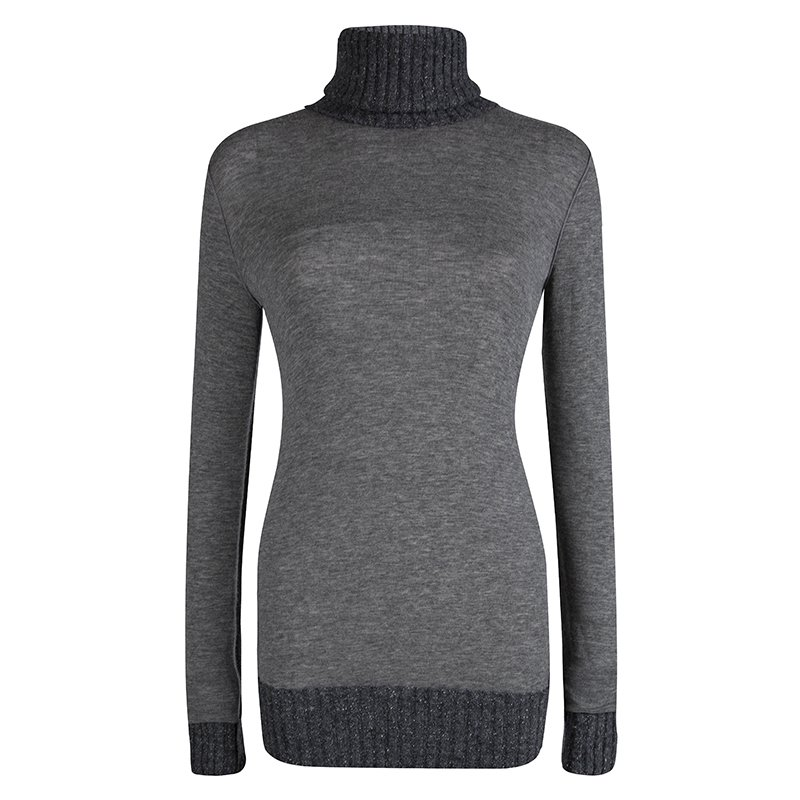 Dolce and Gabbana Grey Cashmere Turtle Neck Sweater M
