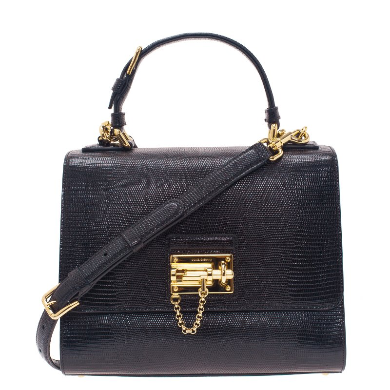 cdf697717b ... Dolce and Gabbana Black Iguana Leather Monica Tote Bag. nextprev.  prevnext