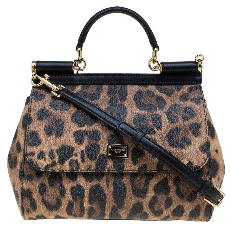 5ac714944778 ... Dolce and Gabbana Leopard Print Leather Medium Miss Sicily Top Handle  Bag. nextprev. prevnext