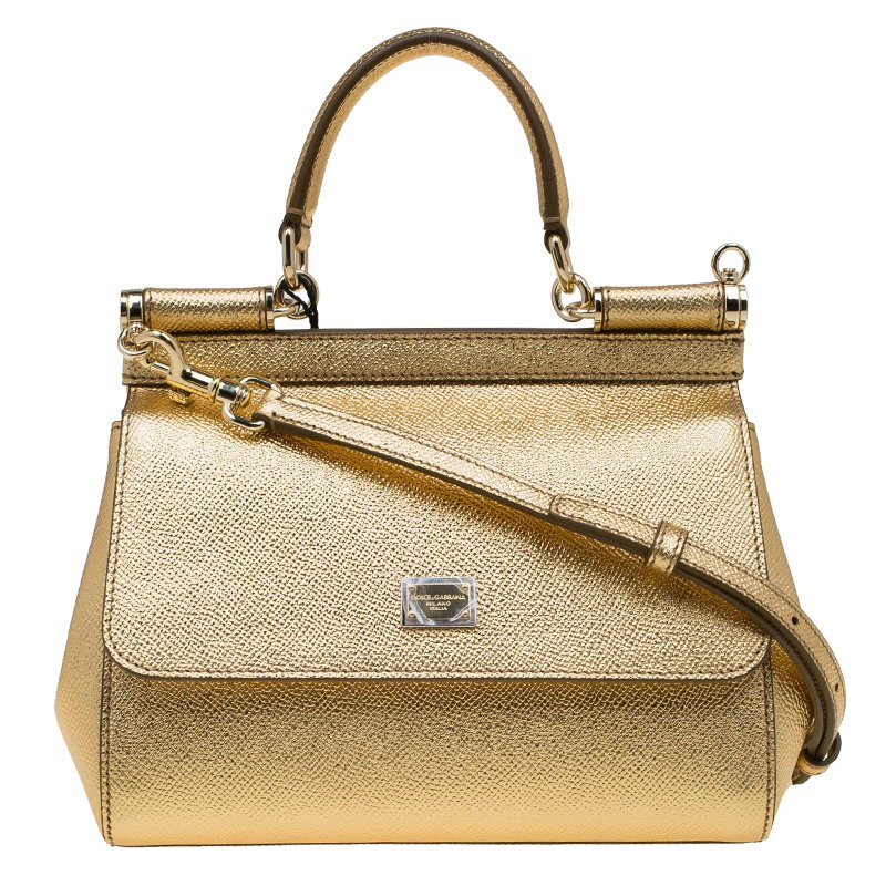 9d88ad0306 ... Dolce and Gabbana Gold Leather Small Miss Sicily Top Handle Bag.  nextprev. prevnext