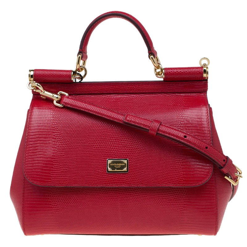 397e4db78904 ... Dolce and Gabbana Red Lizard Embossed Leather Medium Miss Sicily Top  Handle Bag. nextprev. prevnext