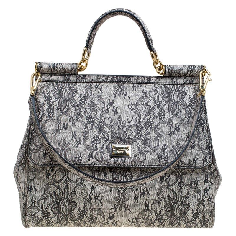 dbd6f05514e ... Dolce and Gabbana Grey Leather Medium Lace Print Miss Sicily Tote.  nextprev. prevnext