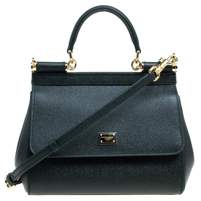 ... Dolce and Gabbana Dark Green Leather Small Miss Sicily Top Handle Bag.  nextprev. prevnext 33ca42d6ab