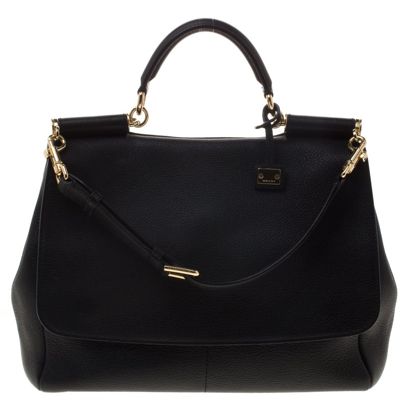 Dolce and Gabbana Black Leather Medium Miss Sicily Tote