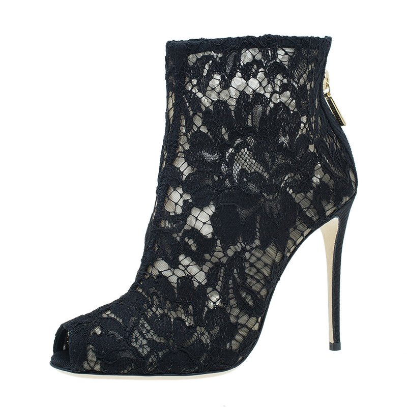 b9db57138e3bf Buy Dolce and Gabbana Black Lace and Mesh Ankle Boots Size 36 1431 ...