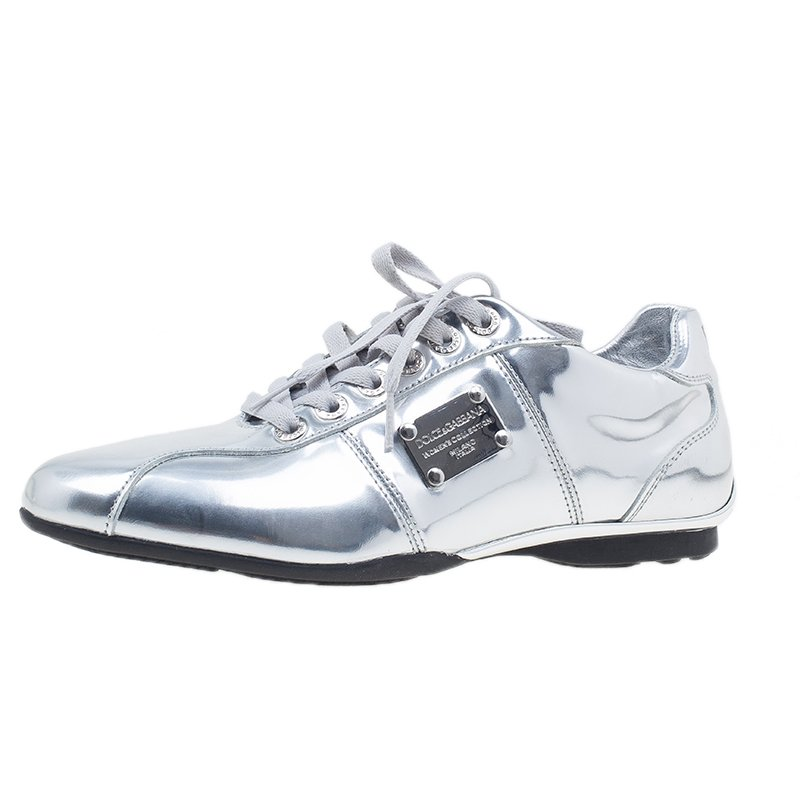6edbb7c6b8f5 ... Dolce and Gabbana Silver Metallic Leather Limited Edition Sneakers Size  40.5. nextprev. prevnext