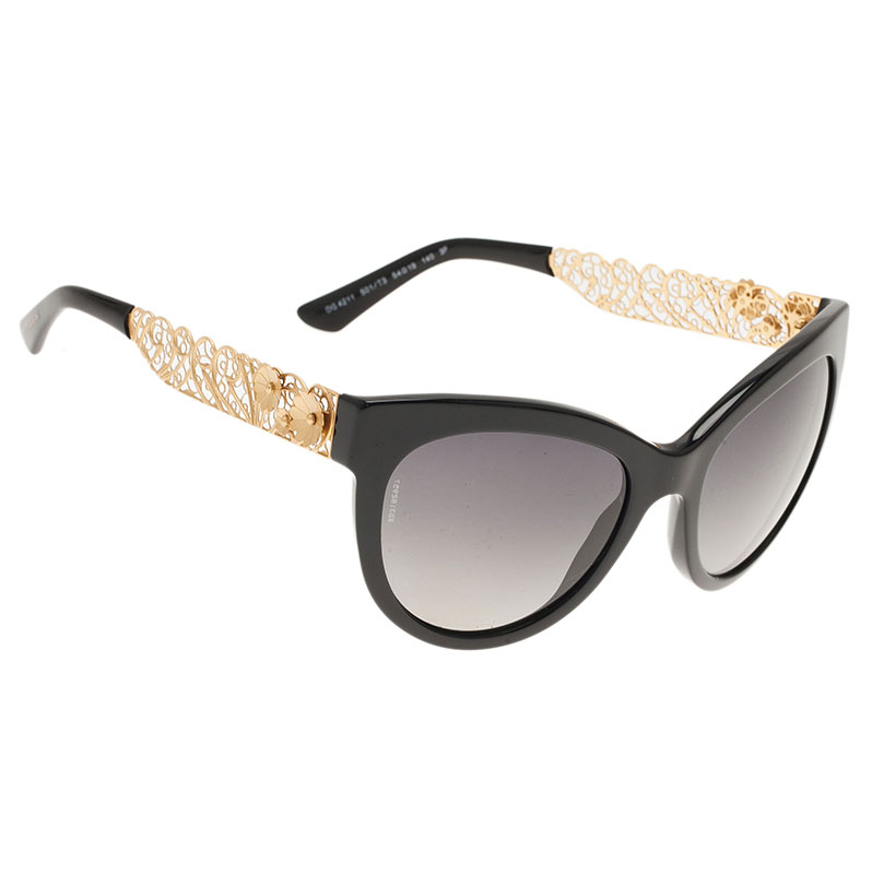 0c3bc61f896 Buy Dolce and Gabbana Black Filigree Cat Eye Sunglasses 132 at best ...