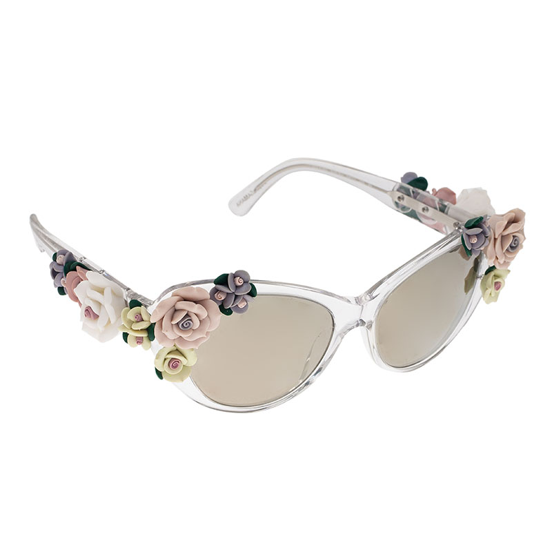 03a1c40ac30 Buy Dolce and Gabbana DG 4180 Floral Embellished Cat Eye Sunglasses ...