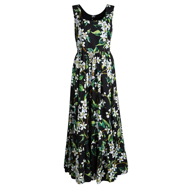 eccbb03a ... Dolce and Gabbana Black Floral Printed Cotton Poplin Sleeveless Maxi  Dress M. nextprev. prevnext