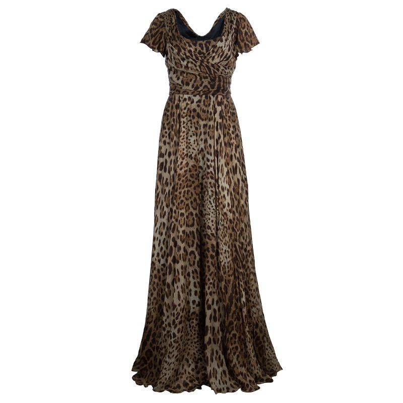 Dolce And Gabbana Leopard Print Gown M