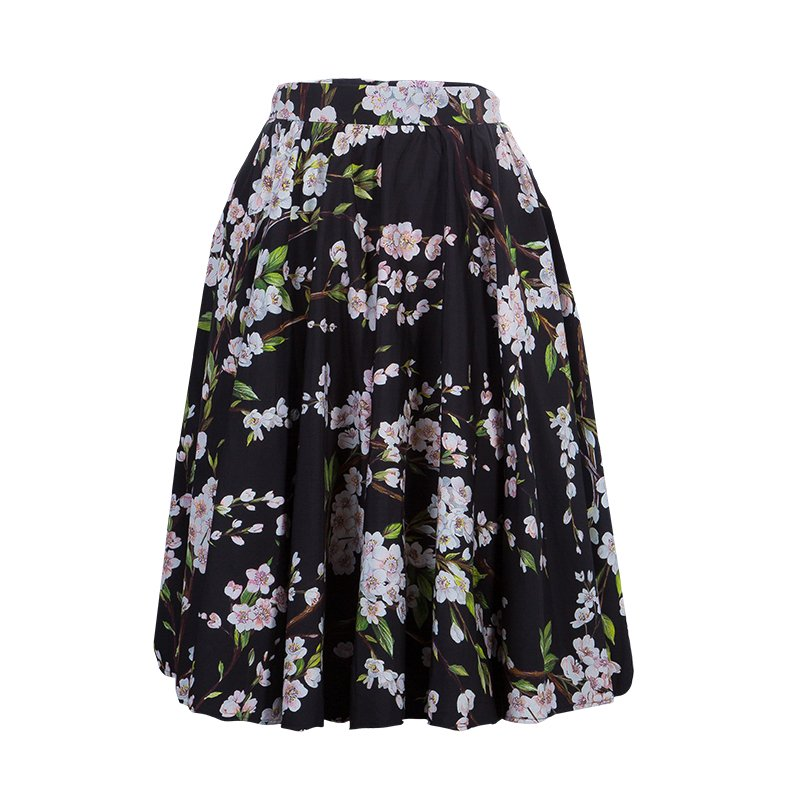 9cd610dcb ... Dolce and Gabbana Black Floral Print Gathered Circular Skirt S.  nextprev. prevnext