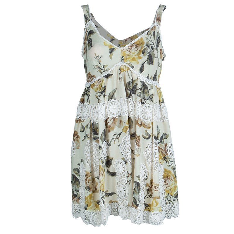 Dolce And Gabbana Beige Floral Print Lace Insert Dress M