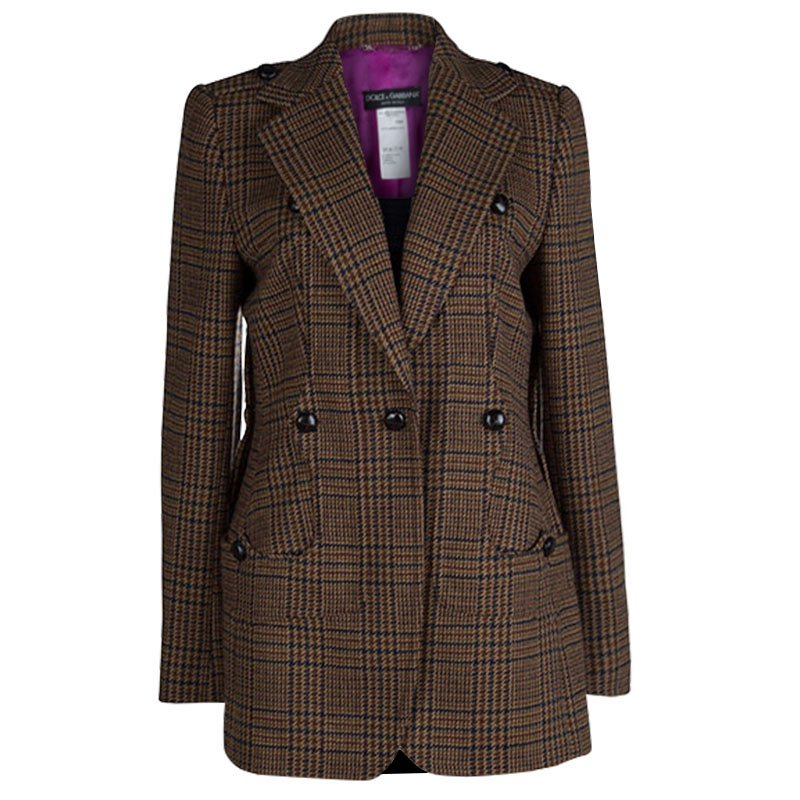 Dolce and Gabbana Brown Houndstooth Lambswool Blazer M