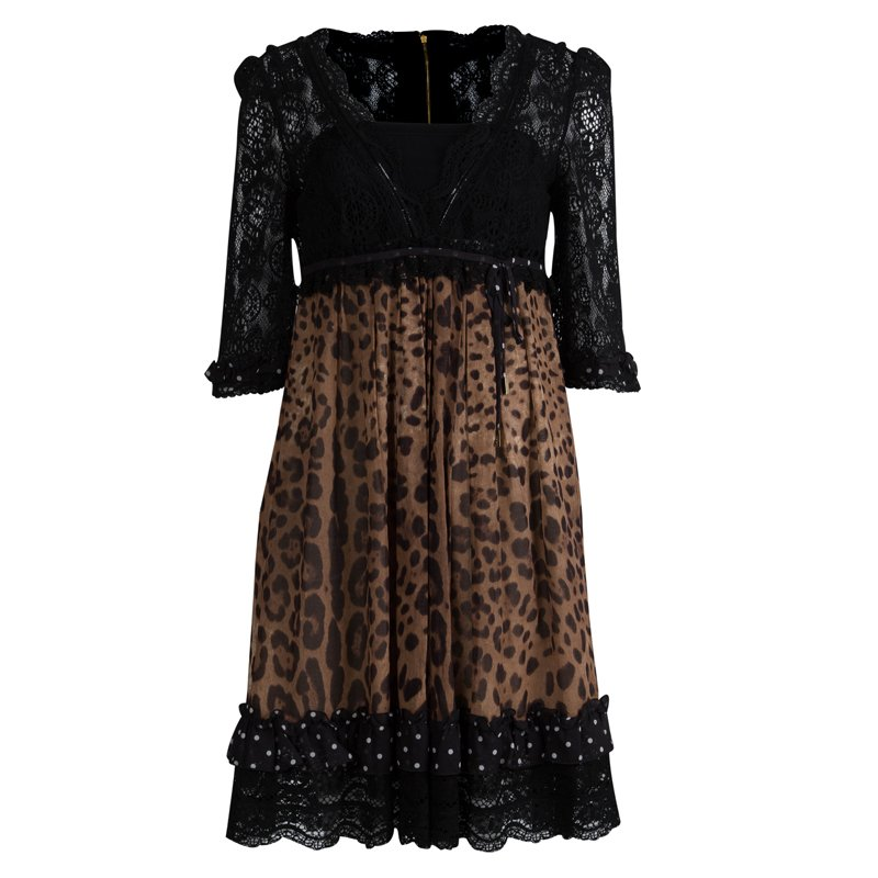 59f376f423a Buy Dolce and Gabbana Black Lace and Leopard Print High Wiast A Line ...