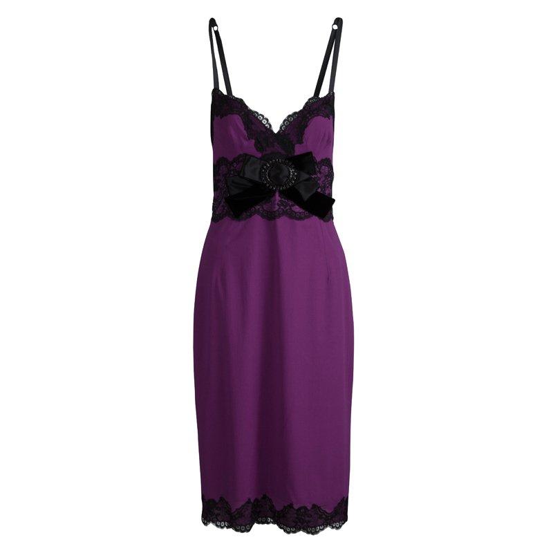77bab5789eadb ... Dolce and Gabbana Purple Silk Lace Detail Slip Dress M. nextprev.  prevnext