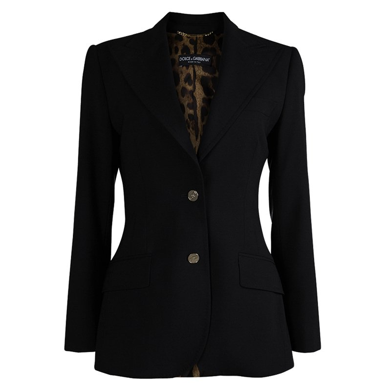 40dc5df3d9 Buy Dolce And Gabbana Black Leopard Print Lined Blazer M 81813 at ...